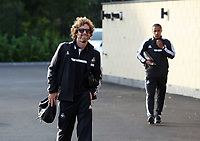 Wednesday 07 August 2013<br /> Pictured L-R: Jose Canas followed by Wayne Routledge, departing from the Swansea Training ground.  <br /> Re: Swansea City FC travelling to Sweden for their Europa League 3rd Qualifying Round, Second Leg game against Malmo.