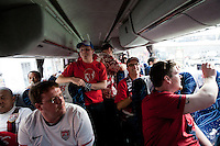 USA fans on a bus to the USA vs. Mexico World Cup Qualifier at Azteca stadium in Mexico City, Mexico on March 26, 2013.