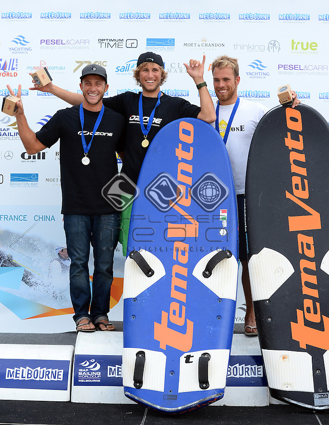 Kiteboard - M / Podium (L-R)<br /> 2: Andrea LECCESE Riccardo (ITA)<br /> 1: Florian GRUBER (GER)<br /> 3: Alejandro CLIMENT HERNANDEZ (ESP)<br /> 2013 ISAF Sailing World Cup - Melbourne<br /> Sail Melbourne - The Asia Pacific Regatta<br /> Sandringham Yacht Club, Victoria<br /> December 1st - 8th 2013<br /> &copy; Sport the library / Jeff Crow