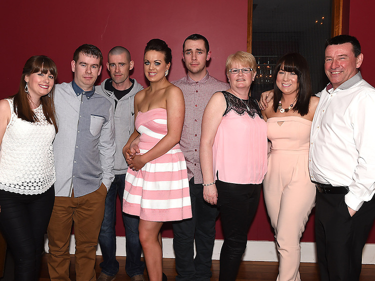 Cormac Coyle and Aoife Duff celebrating their engagement in Brú with Aoife's family. Photo:Colin Bell/pressphotos.ie
