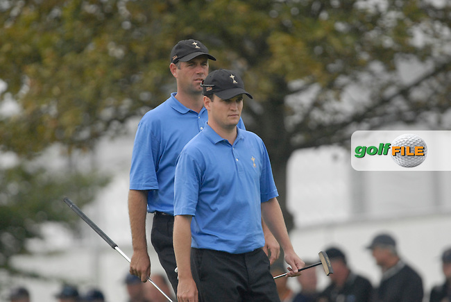 23rd September, 2006. .American Ryder Cup Teammates Zach Johnson and Stewart Cink on the 9th fairway during the afternoon foursomes session of the second day of the 2006 Ryder Cup at the K Club in Straffan, County Kildare in the Republic of Ireland..Photo: Eoin Clarke/ Newsfile.