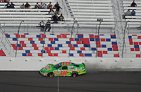 Mar 1, 2008; Las Vegas, NV, USA; Nascar Nationwide Series driver Kyle Busch hits the wall after blowing a tire during the Sams Town 300 at the Las Vegas Motor Speedway. Mandatory Credit: Mark J. Rebilas-US PRESSWIRE