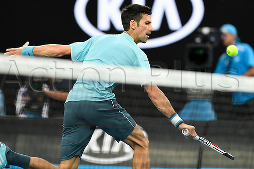 January 17th 2017, Melbourne Park, Melbourne, Australia;  Novak Djokovic (SRB) during his win over Fernando Verdasco (ESP) today in  round 1,  2017 Australian Open Tennis Grand Slam tournament