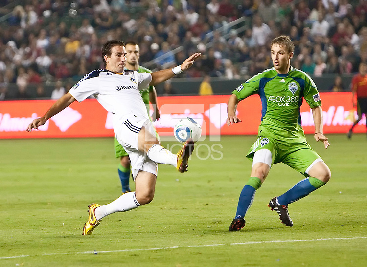 LA Galaxy midfielder Chris Klein (7) reaches to field a pass during the second half of the game between LA Galaxy and the Seattle Sounders at the Home Depot Center in Carson, CA, on July 4, 2010. LA Galaxy 3, Seattle Sounders 1.