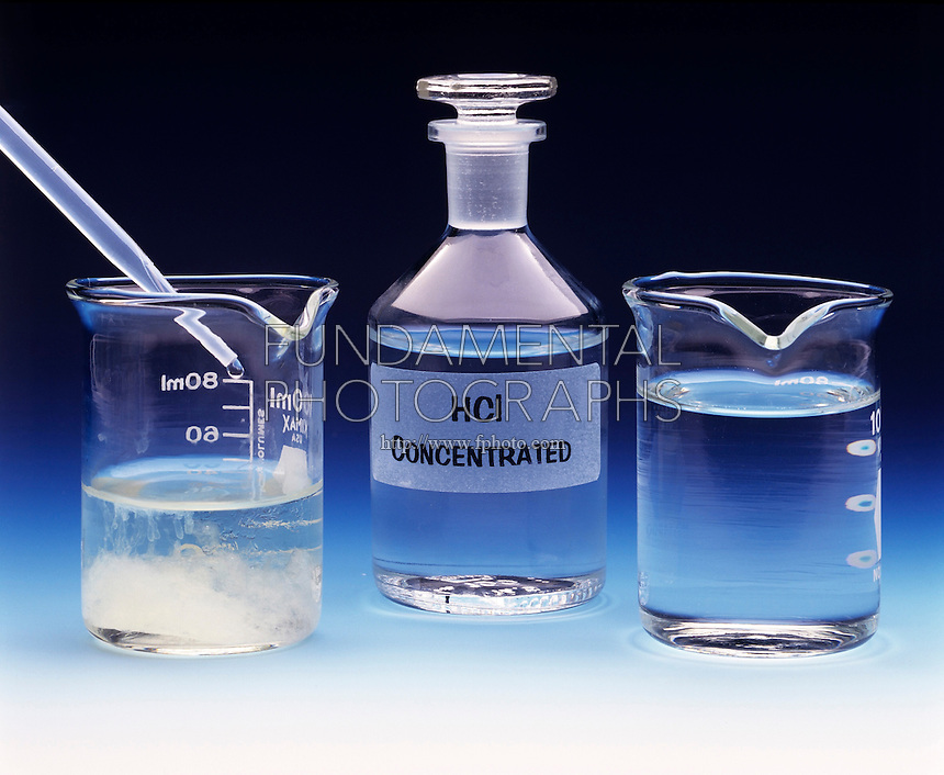 AMPHOTERISM: Al(OH)3(s) &amp; HCl(aq)<br /> Aluminum Hydroxide Ppt and Hydrochloric Acid<br /> Al(OH)3(s) precipitate is formed by the addition of 6M NaOH(aq) to Al(NO3)3(aq).  12M HCl(aq) is added to solution with precipitate (left) which turns the solid aluminum hydroxide to the complex ion [Al(H2O)3] 3+(aq) and clears the solution (right).