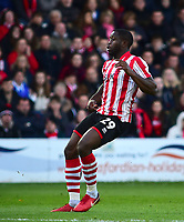 Lincoln City's John Akinde<br /> <br /> Photographer Andrew Vaughan/CameraSport<br /> <br /> Emirates FA Cup First Round - Lincoln City v Northampton Town - Saturday 10th November 2018 - Sincil Bank - Lincoln<br />  <br /> World Copyright © 2018 CameraSport. All rights reserved. 43 Linden Ave. Countesthorpe. Leicester. England. LE8 5PG - Tel: +44 (0) 116 277 4147 - admin@camerasport.com - www.camerasport.com