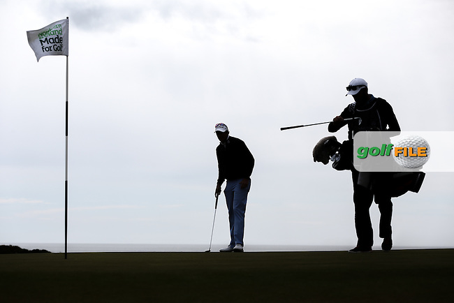 Silhouette of Peter Uihlein (USA) on the 8th during Round Three of the 2015 Dubai Duty Free Irish Open Hosted by The Rory Foundation at Royal County Down Golf Club, Newcastle County Down, Northern Ireland. 30/05/2015. Picture David Lloyd | www.golffile.ie