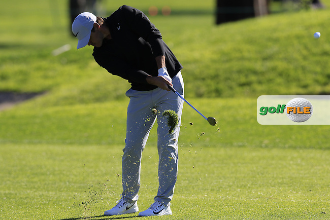 Brooks Koepka (USA) plays his 2nd shot on the 1st hole during Friday's Round 2 of the 2017 Farmers Insurance Open held at Torrey Pines Golf Course, La Jolla, San Diego, California, USA.<br /> 27th January 2017.<br /> Picture: Eoin Clarke | Golffile<br /> <br /> <br /> All photos usage must carry mandatory copyright credit (&copy; Golffile | Eoin Clarke)