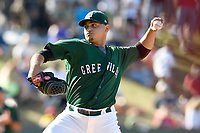 Pitcher Angel Pedron (33) of the Greenville Drive delivers a pitch in a game against the Charleston RiverDogs on Sunday, April 29, 2018, at Fluor Field at the West End in Greenville, South Carolina. Greenville won, 2-0. (Tom Priddy/Four Seam Images)