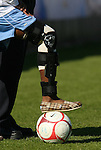 08 November 2009: North Carolina's Nikki Washington's injured leg in a brace. The University of North Carolina Tar Heels defeated the Florida State University Seminoles 3-0 at WakeMed Stadium in Cary, North Carolina in the Atlantic Coast Conference Women's Soccer Tournament Championship game.