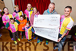 "Colin ""Poshey"" Aherne presented  money raised to Elma Walsh from the  Donal Walsh Foundation and Jimmy Mulligan, (Jigsaw, Kerry) after his 5k a day challenge which about 150 took part in and around Tralee. Pictured here at the Station House , Blennerville on Tuesday also were Eoin Commane, Ryan Reidy, Aoibhin Commane  Clare Finn, Thecla Heaslip, Tommy Commane"