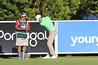 Brett Rumford (AUS) and caddy John &quot;Ronnie&quot; Roberts on the 8th tee during Thursday's Round 1 of the 2016 Portugal Masters held at the Oceanico Victoria Golf Course, Vilamoura, Algarve, Portugal. 19th October 2016.<br /> Picture: Eoin Clarke | Golffile<br /> <br /> <br /> All photos usage must carry mandatory copyright credit (&copy; Golffile | Eoin Clarke)