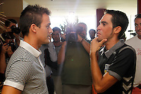 Alberto Contador (r) and Daniel Sordo, Spanish rally pilot during the second day of rest of La Vuelta 2012.September 4,2012. (ALTERPHOTOS/Paola Otero) /NortePhoto.com<br /> <br /> **CREDITO*OBLIGATORIO** *No*Venta*A*Terceros*<br /> *No*Sale*So*third* ***No*Se*Permite*Hacer Archivo***No*Sale*So*third