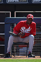 PEORIA, AZ - Manager Dusty Baker of the Cincinnati Reds watches against the Seattle Mariners during a spring training game on March 6, 2012 at the Peoria Sports Complex in Peoria, Arizona. (Photo by Brad Mangin)