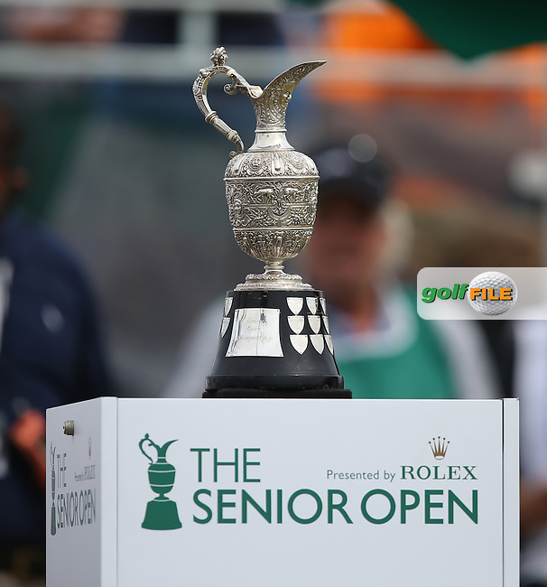 The Claret Jug on the first tee for the Final Round of the 2014 Senior Open Championship presented by Rolex from Royal Porthcawl Golf Club, Porthcawl, Wales. Picture:  David Lloyd / www.golffile.ie