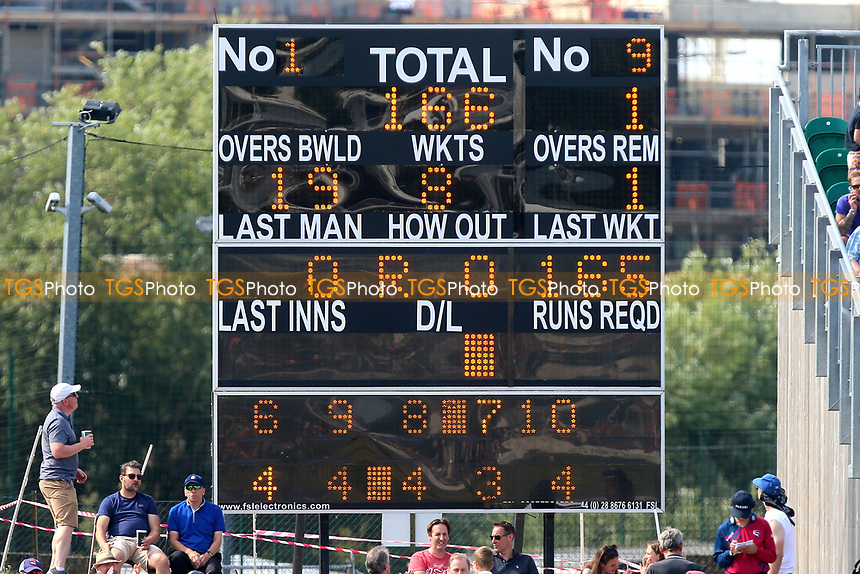 The scoreboard shows that Essex have scored 166 for 8 in their innings during Kent Spitfires vs Essex Eagles, NatWest T20 Blast Cricket at The County Ground on 9th July 2017