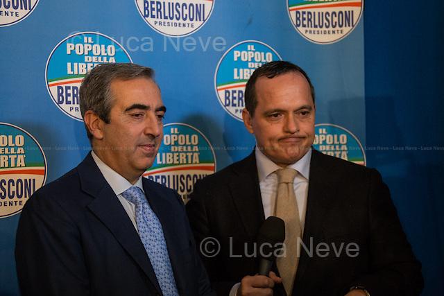 20:13 - Sen. Maurizio Gasparri, President of the Parliamentary group of the PDL at the Senate of the Republic.<br /> <br /> Rome, 25/02/2013. Reportage covering the second day of the Italian General Election, including the campaign HQ's of the Rivoluzione Civile - Antonio Ingroia, the PDL (Popolo della Libert&aacute;) - Silvio Berlusconi, and the Scelta Civile - Mario Monti.