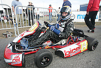 Five-time Daytona 200 winner Scott Russell lsits in his go-cart as he competes in go-cart races at Daytona International Speedway on Wednesday, December 30, 2009. (Photo by Brian Cleary/www.bcpix.com)