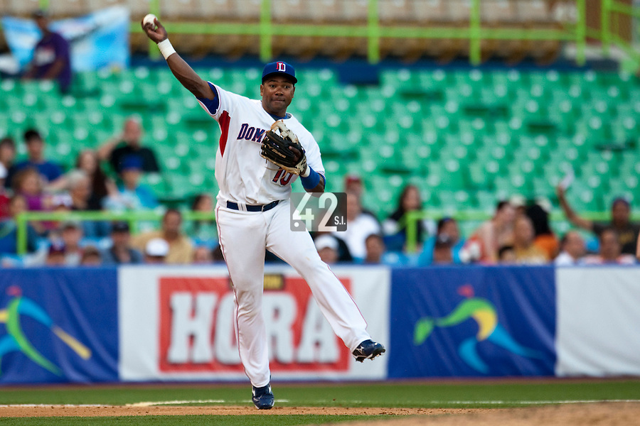 8 March 2009: #10 Miguel Tejada of Dominican Republic throws the ball during the 2009 World Baseball Classic Pool D match at Hiram Bithorn Stadium in San Juan, Puerto Rico. Dominican Republic wins 9-0 over Panama.