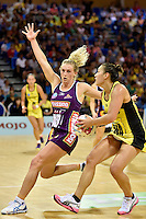 Liana Leota ( Pulse ) and Gabrielle Simpson ( Firebirds ) in action during the ANZ Championship - Mojo Pulse v Queensland Firebirds at Te Rauparaha Arena, Porirua, New Zealand on Sunday 8 March 2015. <br /> Photo by Masanori Udagawa. <br /> www.photowellington.photoshelter.com.