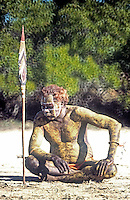 Elder Aboriginal during a Pukumani ceremony on Bathurst Island of the coast of Darwin in ten Northern Territory, Australia<br /> Tiwi Islands in their burial rituals where the Pukumani ritual is the last and largest in a number of Tiwi rituals, performed a few months after the person has diseased.