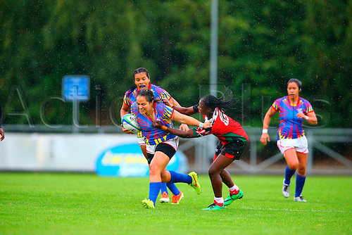 23.08.2015. Dublin, Ireland. Women's Sevens Series Qualifier 2015. Kenya versus Colombia<br /> Janet Okello (Kenya) tackles Alejandra Betancur (Colombia).