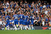 GOAL - Chelsea mob Tammy Abraham after his goal during the Premier League match between Chelsea and Sheff United at Stamford Bridge, London, England on 31 August 2019. Photo by Carlton Myrie / PRiME Media Images.