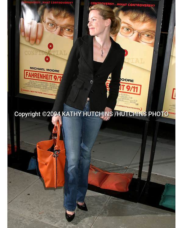 "©2004 KATHY HUTCHINS /HUTCHINS PHOTO.SCREENING OF ""FARENHEIT 9/11"".THE MUSIC BOX THEATER 10 P.M. .BEVERLY HILLS, CA.JUNE 8, 2004..ELIZABETH BANKS"