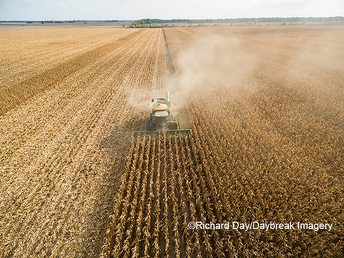63801-08615 Corn Harvest, John Deere combine harvesting corn - aerial Marion Co. IL
