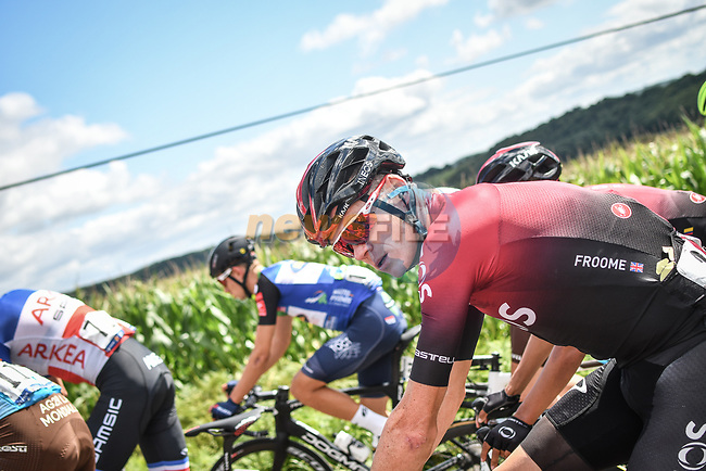 The peloton including Chris Froome (GBR) during Stage 3 of the Route d'Occitanie 2020, running 163.5km from Saint-Gaudens to Col de Beyrède, France. 3rd August 2020. <br /> Picture: Colin Flockton | Cyclefile<br /> <br /> All photos usage must carry mandatory copyright credit (© Cyclefile | Colin Flockton)