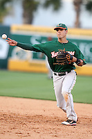 "Miami Hurricanes Stephen Perez #4 during a game vs. the University of South Florida Bulls in the ""Florida Four"" at George M. Steinbrenner Field in Tampa, Florida;  March 1, 2011.  USF defeated Miami 4-2.  Photo By Mike Janes/Four Seam Images"