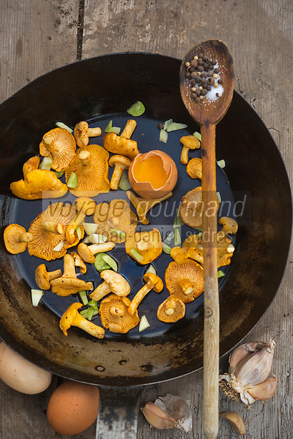 France, Midi-Pyrénées, Lot (46), Saint-Perdoux: Omelette aux girolles   // France, Midi Pyrenees, Lot), Saint Perdoux: Golden chanterelles omelette