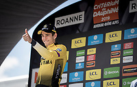 Time Trial stage winner Wout Van Aert (BEL/Jumbo-Visma) on the podium<br /> <br /> Stage 4 (ITT): Roanne to Roanne (26.1km)<br /> 71st Critérium du Dauphiné 2019 (2.UWT)<br /> <br /> ©kramon
