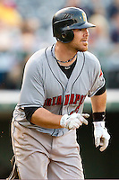 Ryan Doumit #12 of the Indianapolis Indians hustles down the first base line against the Charlotte Knights at Knights Stadium on July 26, 2011 in Fort Mill, South Carolina.  The Knights defeated the Indians 5-4.   (Brian Westerholt / Four Seam Images)