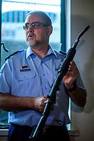 Brayden Lenihan (NZ Police). NZ gun buyback scheme. Trentham Racecourse in Upper Hutt, New Zealand on Thursday, 4 July 2019. Photo: Dave Lintott / lintottphoto.co.nz