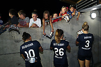 Cary, North Carolina  - Saturday June 17, 2017: Debinha, Samantha Witteman, and Makenzy Doniak sign autographs after a regular season National Women's Soccer League (NWSL) match between the North Carolina Courage and the Boston Breakers at Sahlen's Stadium at WakeMed Soccer Park. The Courage won the game 3-1.