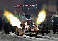 Aug. 31, 2012; Claremont, IN, USA: NHRA top fuel dragster driver Terry McMillen during qualifying for the US Nationals at Lucas Oil Raceway. Mandatory Credit: Mark J. Rebilas-