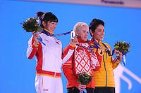 OLYMPICS: SOCHI: Medal Plaza, 15-02-2014, Freestyle Skiing, Ladies Aerials, Mengtao Xu (CHN), Alla Tsuper (BLR),  Lydia Lassila (AUS), ©photo Martin de Jong