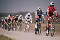 Elia Viviani (ITA/QuickStep Floors) rolling over the 'Plugstreets' in the peloton<br /> <br /> 81st Gent-Wevelgem in Flanders Fields (1.UWT)<br /> Deinze &gt; Wevelgem (251km)