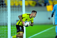 Phoenix's David Ball races back for the restart after the score closed to 2-1 following a phoenix penalty during the A-League football match between Wellington Phoenix and Perth Glory at Westpac Stadium in Wellington, New Zealand on Sunday, 27 October 2019. Photo: Dave Lintott / lintottphoto.co.nz