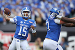 Quarterback Stephen Johnson #15 of the Kentucky Wildcats throws a pass down field during the second half of the TaxSlayer Bowl against the Georgia Tech Yellow Jackets at EverBank Field on Saturday, December 31, 2016 in Jacksonville, Florida. Photo by Michael Reaves | Staff.