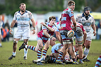 Rhodri Davies of Rotherham Titans passes the ball. Greene King IPA Championship match, between Rotherham Titans and Bedford Blues on January 17, 2018 at Clifton Lane in Rotherham, England. Photo by: Patrick Khachfe / Onside Images