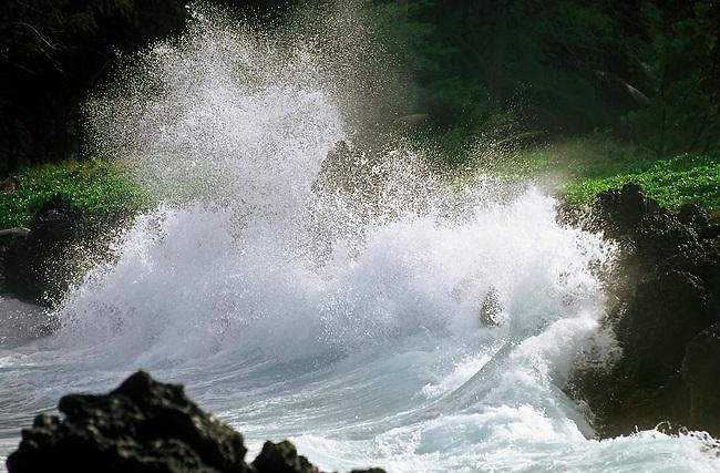 PACIFIC WAVES meets the Hawaiian shore at KEANEA POINT and village on the road to HANA - MAUI, HAWAII