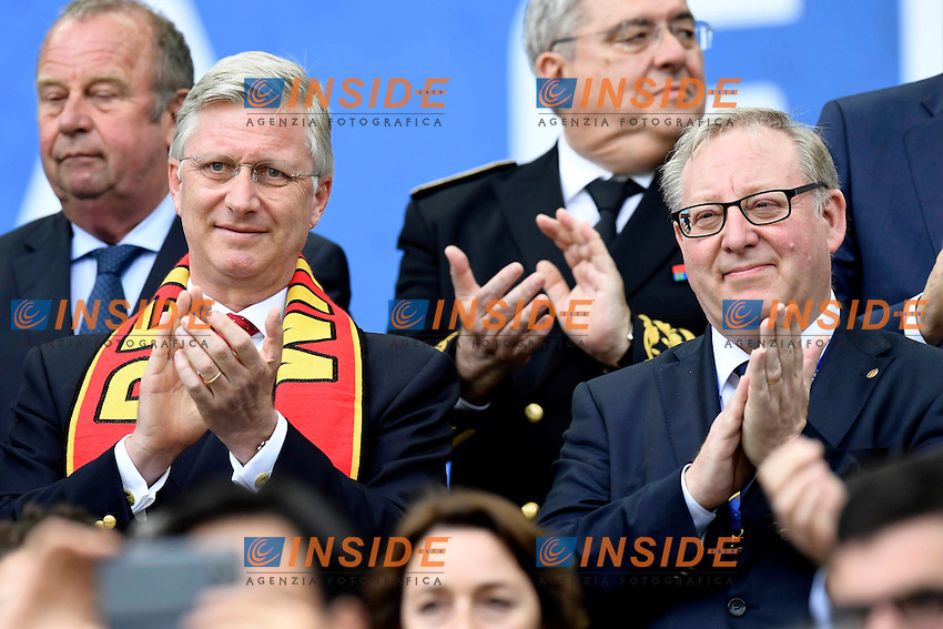 King Filip of Belgium with De Keersmaecker Francois President of Royal Belgian Football Federation  <br /> Bordeaux 18-06-2016 Stade de Bordeaux Football Euro2016 Belgium - Ireland / Belgio - Irlanda Group Stage Group E. Foto Nico Vereecken / Photonews / Panoramic / Insidefoto