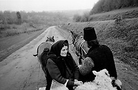 ROMANIA / Maramures / Calinesti / April 2003..Villagers enroute to a livestock market. Peasants from ten surrounding villages meet on Thursdays to trade gossip, sell animals and enjoy themselves...© Davin Ellicson / Anzenberger..