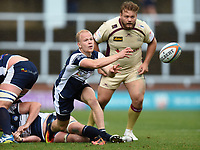 Will Homer of Yorkshire Carnegie passes the ball. Greene King IPA Championship match, between Yorkshire Carnegie and Doncaster Knights on September 17, 2017 at Headingley Stadium in Leeds, England. Photo by: Patrick Khachfe / Onside Images