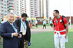 (L-R) Yoshiro Mori, Koji Murofushi, <br /> AUGUST 2, 2016 : <br /> Welcome ceremony for the Japanese delegation <br /> during the Rio 2016 Olympic Games <br /> at Athlete's Village, in Rio de Janeiro, Brazil. <br /> (Photo by Yohei Osada/AFLO SPORT)
