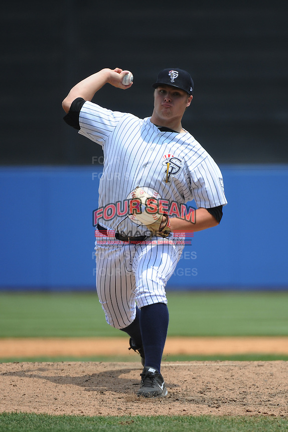 Staten Island Yankees pitcher Cale Coshow (60) during game against the Mahoning Valley Scrappers at Richmond County Bank Ballpark at St.George on July 22, 2013 in Staten Island, NY.  Mahoning Valley defeated Staten Island 8-2.  Tomasso DeRosa/Four Seam Images