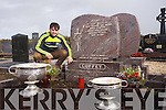 Kerry Minor  Cormac Coffey  with the Sam Maguire and Tom Markham  at his Grandad's Grave on Saturday