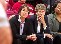 Stanford, California.,--November 25, 2012-- Director of Women's Basketball Tara VanDerveer and Associate Head Coach Amy Tucker watches Saturday, November 25, 2012, game against Long Beach State at Stanford. Stanford won 77-41.